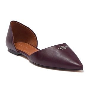 Coach Pointed Toe Leather d'Orsay Flat